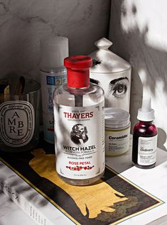 thayers witch hazel toner, the ordinary AHA peel, diptyque ambre candle