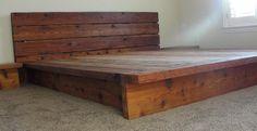 King Rustic Platform Bed Cedar Wood by ArtisanWood11 on Etsy