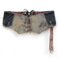 Corset belt made of pockets! // Olive green corset belt Asianinspired print wide hip by LiziRose, $89.50