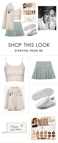 """Visiting Jimin at the dorms"" by got7outfits ❤ liked on Polyvore featuring Topshop, Chicnova Fashion, Puma and Anya Hindmarch"
