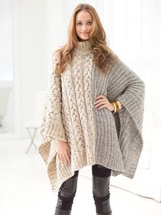 Free #Pattern: Chatsworth Cable Poncho | Knitting | Pinterest ...