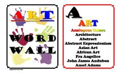 Art Word Wall - 14 horizontal legal pages  $6.00
