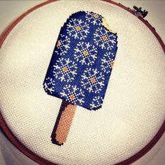 Cross stitch snowflake ice cream, 7 evenings, 18 cm