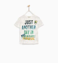 Image 1 of T-SHIRT WITH PALM TREE PRINT AND SLOGAN from Zara
