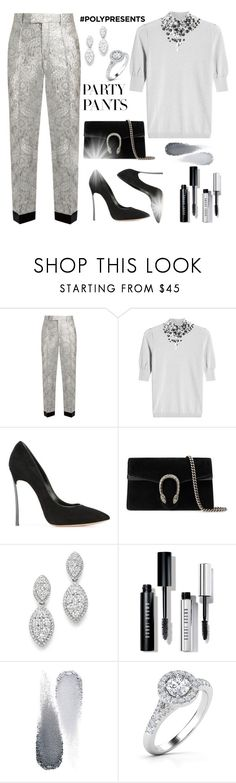 """""""#PolyPresents: Fancy Pants"""" by m-jelic ❤ liked on Polyvore featuring Gucci, Delpozo, Casadei, Bloomingdale's, Bobbi Brown Cosmetics, Clé de Peau Beauté, contestentry and polyPresents"""