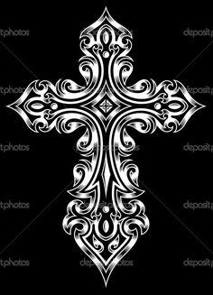 Illustrazione vettoriale completamente modificabile (eps modificabile) della Croce gotica in bianco su sfondo nero isolato, immagine adatto per elementi di design, logo, stemma, Emblema, insegne o tatuaggio — Illustrazione stock #37270337