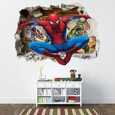 SPIDERMAN SMASHED WALL STICKER - BEDROOM BOYS AVENGERS VINYL WALL ART