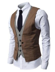 a578162f407959 Mens Fashion Business Suit Vest with Layered Style 4 Buttons Point Chain  rings