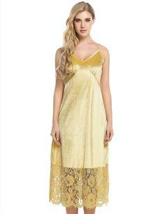 Yellow Spaghetti Straps Lace Hem Design Patchwork Dress
