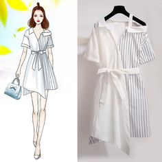 Coordination color scheme retro french style irregular hem … – Miracles from Nature Korean Girl Fashion, Cute Fashion, Asian Fashion, Look Fashion, Fashion Drawing Dresses, Fashion Illustration Dresses, Fashion Design Drawings, Fashion Sketches, Girls Fashion Clothes