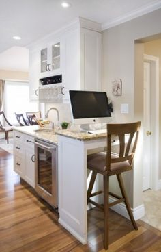 """""""Elevate your hobby space or work station. According to one online calculator, you can burn 200 to 400 more calories over eight hours if you stand at your desk rather than sit. Look for a desk or table that provides this possibility or build one into your next kitchen."""" (Miralis Custom Kitchen)"""