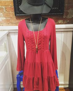 "Say ""yes"" to the dress!  Red dress with lace detail and open back- $36.95 Grey floppy hat- $24.95 Kendra Scott Jayce necklace- $120  #madisonsbluebrick #littlereddress #kendrascott #floppyhat #fallfashion #shoplocal"