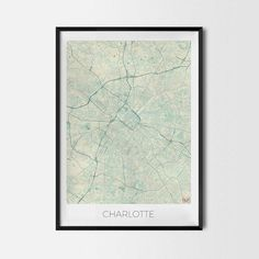 Charlotte art posters and prints of your favorite city. Unique map design of Charlotte. Perfect for your house and office or as a gift for friend.Map Print - Minimalist City Map Art Poster - Interior Ideas, Wall Art Gift, Cool Art Prints, Unique Map Posters, Cheap Bedroom Gifts, Decorative Design
