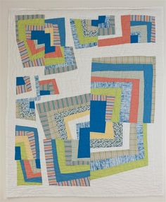 "Recycled shirt quilt:  Log Cabin Dancing, 39 x 46"", by Pam Bell"