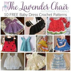Crochet Baby Girl FREE Baby Dress Crochet Patterns - The Lavender Chair - These baby dress crochet patterns are absolutely adorable and perfect to make for your little one! Did i mention that they are FREE? Crochet Baby Blanket Beginner, Crochet Baby Dress Pattern, Black Crochet Dress, Baby Dress Patterns, Baby Clothes Patterns, Baby Girl Crochet, Crochet Baby Clothes, Newborn Crochet, Crochet Patterns