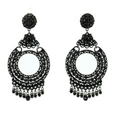 Jose and Maria Barrera Jet & Rhodium Chandelier Earring