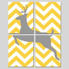 Chevron Deer Quad  Set of Four 8x10 Prints  Chevron by Tessyla, $65.00