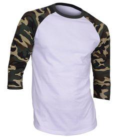 Men's Casual 3/4 Sleeve Baseball Tshirt Raglan Jersey Shirt Dark Camo Small