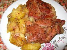 Ceafa de porc cu cartofi la cuptor