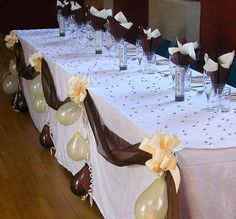 Wedding Top Table Decoration Kit Organza Fabric Swags Pull Bows Balloons | eBay