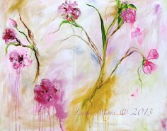 Art Print from Original Floral Abstract  Painting by Lana Moes - Soft Pinks Girls Bedroom - Floral Painting - Wedding Gift