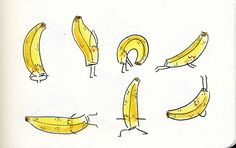 Banana doing yoga by Marta Prior. Would love to put this on a tank for exercise :)