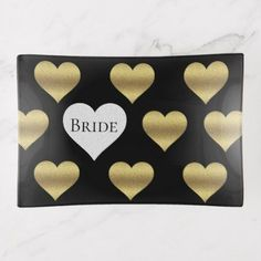 Black And Gold Bride To Be Party Trinket Tray - gold wedding gifts customize marriage diy unique golden
