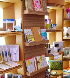 Corrugated Shelving in London. hmmm we will be there next month may pop in.