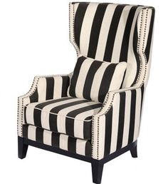 Devonille Black & Natural Stripped Fabric Accent Chair available at www.inspiredhomedecor.com for $674.97CAD