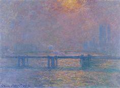 Charing Cross Bridge, la Tamise, 81cm x 100cm, 1883, Claude Monet : musée des beaux-arts de Lyon.