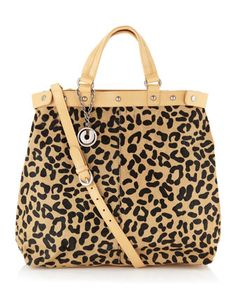 Sage Leopard-Printed Calf Hair Tote by Charles Jourdan at Last Call by Neiman Marcus.