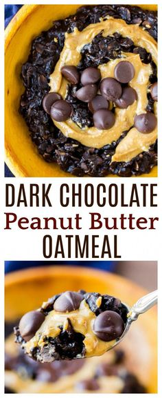 Dark Chocolate Peanut Butter Oatmeal is a simple breakfast recipe to start the day! Made with unsweetened almond milk chia seeds and maple syrup it's actually a healthy option! There is no refined sugar and it can easily be made gluten free! Healthy Breakfast Muffins, Breakfast Smoothie Recipes, Best Breakfast Recipes, Eat Breakfast, Brunch Recipes, Breakfast Ideas, Recipes With Oatmeal Breakfast, Dessert Recipes, Recipes Dinner