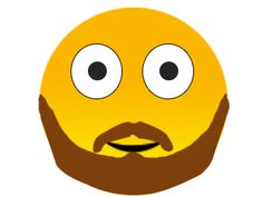 Beard Smiley Emoji -   These days, beards are in. We considered giving this emoji a more impressive, bird-hiding beard, but opted to go for the just for men beard. Even though it's nicely man-scaped, it can still be used to signify more impressive beards and neck sweaters.