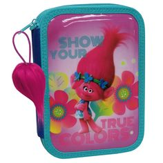 Show your true colours, with Poppy, the princess of the Trolls with this double layered pencil case. The pencil case comes complete with stationery, including; 12 colour pencils, 10 fibre pens, 2 ballpens, 1 HB pencil, 1 eraser, 1 pencil sharpener and 4 rulers set. The backpack comes complete with a motion activated light up function and a zipper which is decorated with the iconic Trolls hair (Every Trolls fan knows it's all about the hair)!
