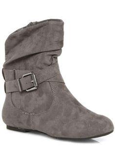 Evans Grey Suedette Ankle Boots
