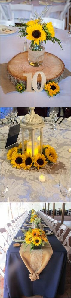 Sunflower themed wedding centerpieces #wedding #weddingideas #weddingdecor #weddingcenterpieces