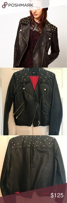 ASOS gold studded genuine leather jacket Beautiful gold studded real leather studded jacket. I have probably worn this jacket 3 times in the 4 years that I have had it. My wardrobe isn't bold enough to wear it on a more regular basis. Selling so someone will show it more love. ASOS Jackets & Coats