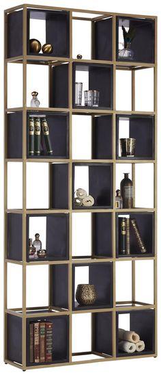 REGAL in 78/180/24 cm Schwarz, Goldfarben online kaufen ➤ XXXLutz Bookshelves Built In, Montage, Black Gold, Shelving, Home Decor, Products, Shelf, Colors, Black