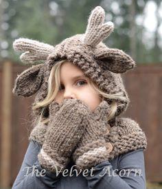 KNITTING PATTERN - Frye Fawn Hood Set (12/18 month - Toddler - Child - Adult sizes) by Thevelvetacorn on Etsy https://www.etsy.com/listing/236573687/knitting-pattern-frye-fawn-hood-set-1218