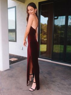 Olivia Rouyre in David's Bridal long sheath velvet dress. Great crisscross back detail with a front slit. Beautiful wine color perfect for the fall and winter occasions. Prom Dresses With Sleeves, Sexy Dresses, Evening Dresses, Long Dresses, Perfect Prom Dress, Davids Bridal, Ladies Dress Design, Sheath Dress, Wedding Gowns