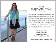 Kika's Outfit of the Week! Our Camille, Vera, and Parrot Floral Scarf for only $98!