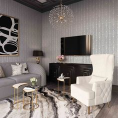 Alina Cream Tall Tufting Back Chair by Inspire Me! Home Decor - TOV Furniture Glam Living Room, Home And Living, Black And Gold Living Room, Black White And Gold Bedroom, Silver Living Room, Ivory White, Inspire Me Home Decor, Living Room Inspiration, Home Decor Inspiration
