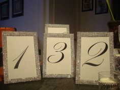 BLING TABLE NUMBERS FOR SALE (MANY STYLES) ALL NEW :  wedding black bling decor frames reception table setting BLINGED OUT FRAMES