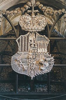 All made of bones the coat of arms of Schwarzenberg family at Kostnice (Sedlec Ossuary) in Kutná Hora, Czech Republic Prague, Sedlec Ossuary, La Danse Macabre, Human Skeleton, Catacombs, Skull And Bones, Memento Mori, Coat Of Arms, Czech Republic