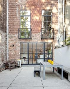 Rehab Diaries: An Artist's NYC Kitchen Renovation industrial french doors to bring light into the lower lever of a duplex city townhouse Remodelista Patio Interior, Interior Exterior, Exterior Design, Interior Architecture, Exterior Doors, Steel Windows, Steel Doors, Windows And Doors, Casa Patio