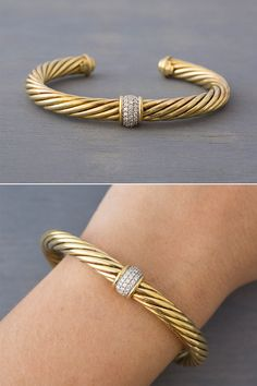 Vintage David Yurman yellow gold classic cable cuff bracelet with pavé diamonds, offered by MintAndMade. Diamond Bracelets, Gold Bangles, Bangle Bracelets, Gold Ring, David Yurman, Expensive Jewelry, Stylish Jewelry, Bracelet Designs, Wedding Band