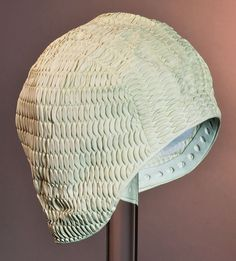 Crèmekleurige rubber badmuts 1965-1975