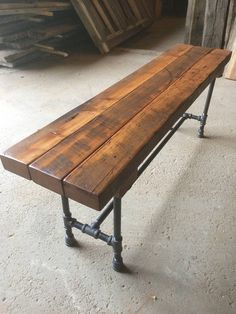 The Foundry Bench Reclaimed Wood Beam Rustic Bench Farmhouse Bench Dining Table Bench Wood and Pipe Bench - Wood Diy Reclaimed Lumber, Reclaimed Wood Furniture, Pipe Furniture, Industrial Furniture, Industrial Pipe, Furniture Vintage, Vintage Industrial, Industrial Style, Reclaimed Wood Benches