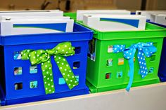 Ribbon added to the crates makes it look super cute! LOVE LOVE LOVE - just saw crates like this at Walmart for $1 (9/17/11)