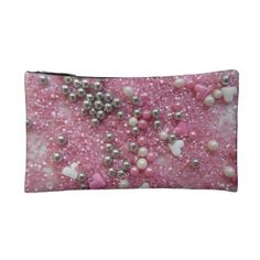 Pink Sparkles and Love Hearts Makeup Bag - girl gifts special unique diy gift idea